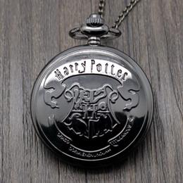 Wholesale Hot Sale Harry Potter Movie Extension Black Hogwarts School Logo Case Quartz Pocket Watch With Necklace Chain