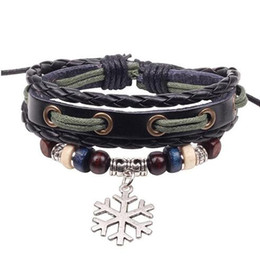 Wholesale Retro fashion cheap Leather Snowflake alloy Bracelet manufacturers supply beaded jewelry