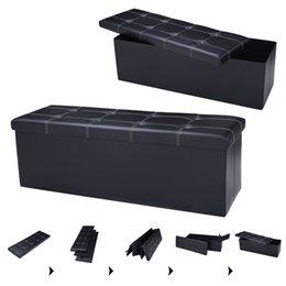 Wholesale 45 quot x15 quot x15 quot Large Folding Storage Faux Leather Ottoman Pouffe Box Stool Black