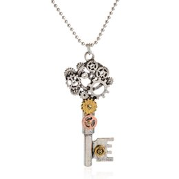 Vintage Steampunk Necklace Mechanical Gear Key Pendant Necklace Ancient Silver Jewelry For Women's Accessories Gifts For Girl