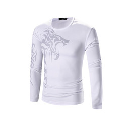 Free Shipping US Size M-3XL High Quality 2017 Autumn and Winter Men's New Men's Long-sleeved T-shirt Printing Bottoming Shirt Tattoo