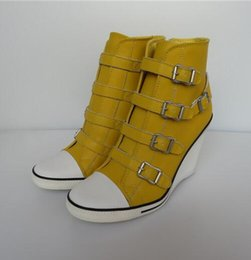Wholesale Hot Products Ash Ankle Boots Thelma Buckle Wedge Trainers Genuine Leather Yellow Sneakers On Hot Sale High Top Tide Women Shoes Size