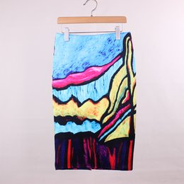 Wholesale Abstract painting print ladies middle skirts Western vogue women faldas girls fashion summer clothing mixed order low price