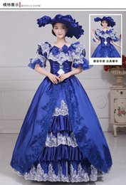 100%real carnival royal blue lace ball gown with hat Medieval Renaissance Gown queen Dress embroidery ball gown Victorian dress Belle Ball