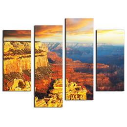 4 Pieces Wall Art Colorado Grand Canyon landscape the pictures Printed On Canvas For Home Living room Modern Decoration with Wooden Framed