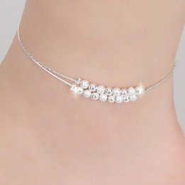 Lady Chain Sexy Luckyg Ball ankle bracelets beach jewelry new 925 Sterling silver Double layers anklets jewelry for Women Boot Foot Jewelry