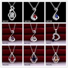 Factory direct sale fashion women's gemstone 925 silver necklaces pendant 10 pieces mixed style,sterling silver pendant necklaces GTN35