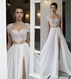 Wholesale Lace Empire Neckline Wedding Dress - two piece sexy wedding dresses 2016 side split heavily embellished beaded bodice sweetheart neckline cap sleeves A-line wedding gowns