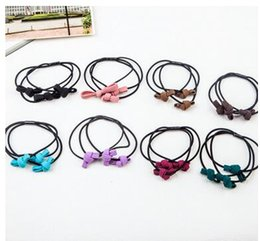 New mix color hair rubber bands hair jelwery 3 circle tie knot hair bands girl's hair elastic pure hand knotted rope hair bands 8cm