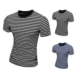 Mens Casual T-Shirts Black Blue Stripe Tee Shirt Slim Fit Tops New Short Sleeve t-Shirt M L XL XXL