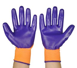 Protective Nitrile Glove Smooth Surface Coating Purple Nitrile Work Safety Glove Industrial Worker Gloves Hand Safe Glove