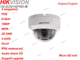 hikvision Original English DS-2CD2142FWD-IS 4MP POE AUDIO ALARM Dome WDR IR Network camera(4mm)