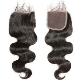 High Quality Top Lace Closure 4x4 Brazilian Hair Closure Body Wave Virgin Human Hair Peice Natural Color 8 To 24Inch Brazilian Lace Closure