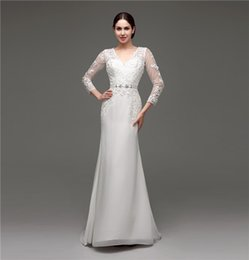 Wholesale Long Sleeves V neck Wedding Dresses White Ivory Mermaid Chiffon Appliques Beauty Back Vestidos De Novia Real Photos