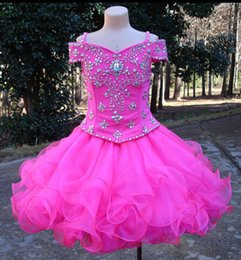 2019 Real Image Fuchsia Little Girls Pageant Dresses Off Shoulder Crystal Organza Short Flower Girls Dress Toddler Party Prom Wear Gown