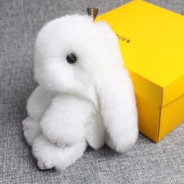 Promotion décor de zinc Rex Rabbit fourrure porte-clés Cute lapin poupée porte-clés sac à main sac à main Rabbit fourrure sac à dos sac à main Pom Pom voiture pendentif sac décor