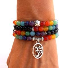 SN0069 108 Mala Chakra bracelet or necklace 7 chakra Yoga Meditation bracelet for women pure natural stone