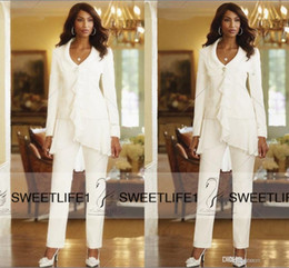 Three Pieces White Ivory 2016 Sheath Elegant Mothers Pants Suits Custom Made Ruffles Chiffon Mother of the Bride Gowns Long Sleeves