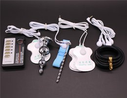 Wholesale 4 kinds Electro Shock Sex Toys Butt Plug Electrical Urethral Sound Rubber Cock Ring Electrode Gel Pad Medical Themed Toy