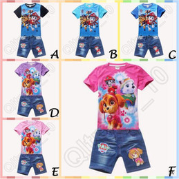 Wholesale 20set CA3847 New Arrival Styles set Paw Dog Baby Outfit Set Kids Patrol Short Cotton T Shirt Denim Pants Suit Kids Casual Clothing