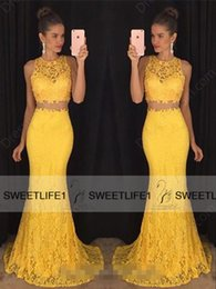 Two Pieces Yellow Red Colorful Lace Prom Dresses Custom Made Crew Neck Sleeveless Mermaid Long Formal Evening Pageant Gowns with Sweep Train