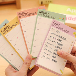 Wholesale Hot Sale New Vintage cute WEEKLY DAILY schedule memo stickers Sticky Notes Message pad stationery Piece