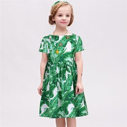 Wholesale Girl Dress Summer Brand Princess Dress Kids Clothes Banana Leaf Girls Party Dresses with Jewel Mode Enfant Children Dress