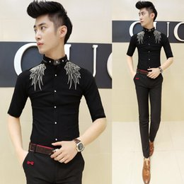 Wholesale-Embroidery Shirt For Men Fashion Design Prom Shirt Club Party DJ SInger Shirt Male Chemise Homme White Black Red Navy
