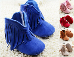 5 colors baby fringed boots 2016 zippers children soft bottom snow boots 11CM 12CM 13CM warm boots in stock 12pair 24pcs