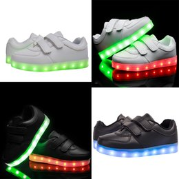 Wholesale Led Light Shoes for Boys and Girls Colors Flashing USB Cable Charging Glowing Double Hook and Loop Closure Sneakers White Black