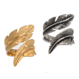 High quality antique steel gold men's women's stainless steel feather band rings jewelry in #8-13 size