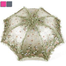 Wholesale Women Sun Rain Umbrella Anti UV Waterproof Parasol Folding Umbrellas Lovely Princess Lace Sunshade Umbrellas KT0155