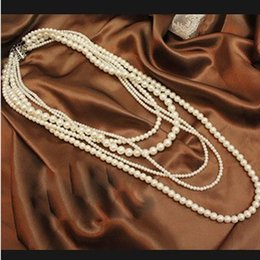 Women's Fashion Pearl Floral Chain Bib Statement Long Necklace Vintage European Long Sweater Necklace Multiplayer Wedding Jwellery for Girls