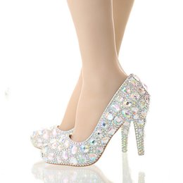 Wholesale Crystal Wedding High Heel Shoes Glitter AB Color Performance Party Shoes Pointed Toe Party Prom Pumps Bling Bling Women Shoes