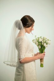 2016 New Top Quality Romantic Elbow White Ivory Lace Edge veil Bridal Head Pieces For Wedding Dresses