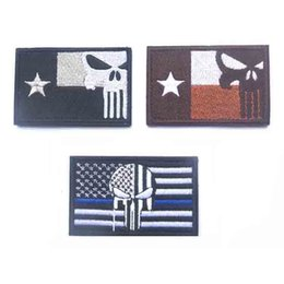 Wholesale 2016 American Texas Flag The Punisher Tactical USA Military Morale Swat Patch Army Gear Embroidered Badges Fabric Stickers