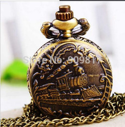 Wholesale Vine bronze qrailway engine uartz antique pocket watches necklace Pendant Chain Clock