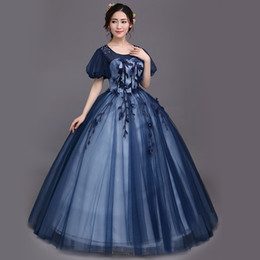 dark blue bubble sleeve gown medieval dress long gown princess Medieval Renaissance Gown queen cosplay Victoria Belle gown