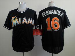 Wholesale Miami Marlins Jose Fernandez Black Baseball Jerseys Cheap Men s Baseball Uniforms Embroidered Baseball Shirts White Color In Stock