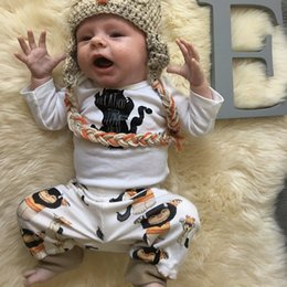 Wholesale INS New Newborn Clothe set Baby Boys Printed Jumpsuit One piece Romper printed pant outfit set best quality