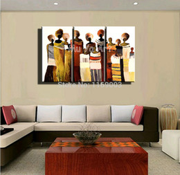 Wholesale 3 panel canvas wall art hand painted abstract sexy African women photo oil painting on canvas for living room bedroom decoration