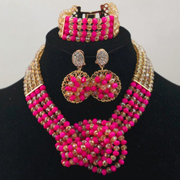 new fushia gold pendants bridal jewelry set indian crystal necklaces jewelry set african fashion wholesale price cheap jewelry G01