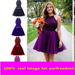 Wholesale Miss USA TEEN Luxury Beaded Crystal Homecoming Dresses For Sweet In Stock Jewel Neck Puffy Tulle Cocktail Wear Party Prom Dress