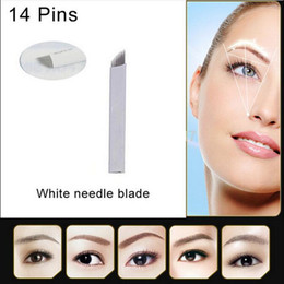 100 PCS 14Pin Permanent Makeup Manual Eyebrow Tattoo Needles Blade For 3D Embroidery Microblading Tattoo Pen Machine