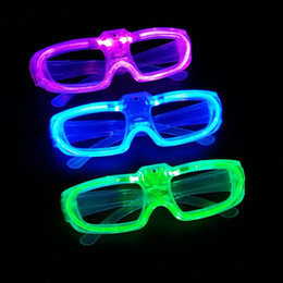 Wholesale 2016 Halloween New Led Cold Light Glasses EL Wire Glowing Flash Glasses Flashing Glasses Fluorescence Party Glasses DJ Party Props E1325
