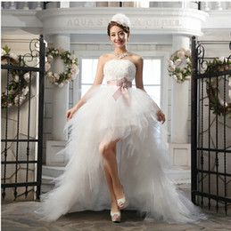 Strapless Lace Tulle High Low Beach Wedding Dress With Handmade Flower 2016 Sweep Train Wedding Gowns Lace Up