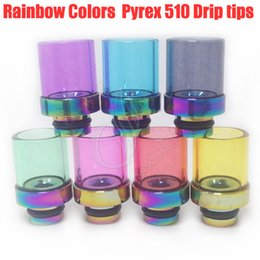 New Rainbow Glass Wide Bore Drip Tips 510 Colorful Pyrex & Stainless Steel Mouthpiece dripper tip RBA RDA Mod vapor Tank Atomizer Dripping