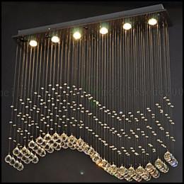 Promotion pendentifs en argent 100cm * 20cm Pendentif LED Light 6 Lumières moderne Argent Canpoy Transparent Cristal Waves plafond Éclairage LLWA140