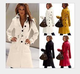 Pop Ladies Cashmere Coat Nice Winter Women Solid Long Double-breasted Lapel Neck Windbreaker Outerwear Winter Yellow Wool Coat Women
