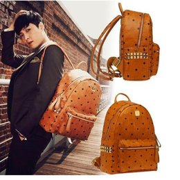 Wholesale Leather Computer Backpack For Women - 1:1 Top Quality korean PVC leather backpack for Men Women sprots backpack bags Punk Rivets backpacks Middle Small Size spree worthy